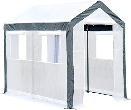 Outsunny Walk-in Garden Greenhouse Fully Enclosed with Extra Thick Steel Tubing, 4 Windows Plus Screens , and 2 Zippered Doors for a Perfect Garden Haven, 6 L x 8 W x 7 H, White
