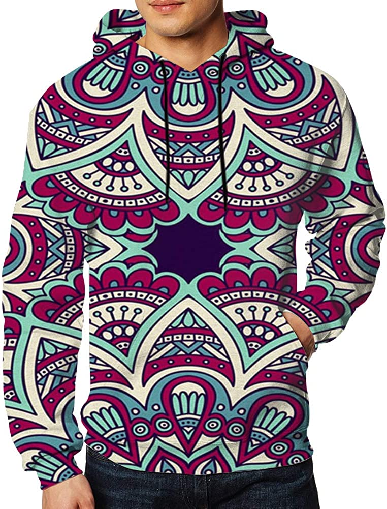 Vintage Elements Hand Bohemian Hoodies for Men Pullover Hooded Shirts