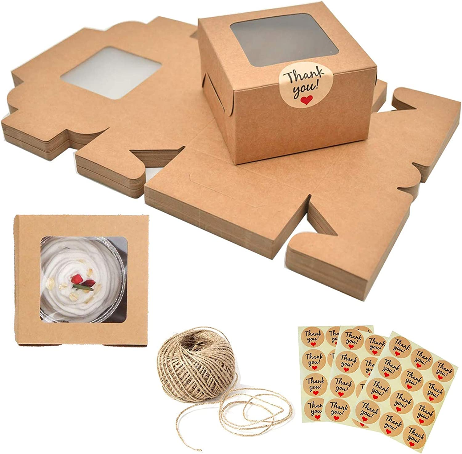 25 Pack Cookies Boxes With Window - 4x4x2.5 Inch Brown Kraft Cardboard Cake Boxes With Clear Lid - Small Bakery Packaging for Pastries, Donuts, Sugar - Gift Boxes With Stickers and Jute Twine
