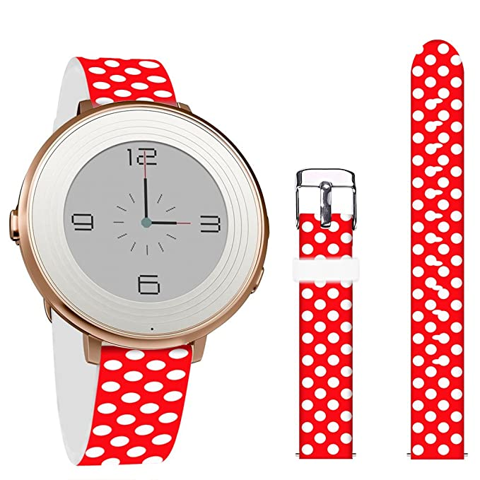 Pebble Time Round 14mm Bands,Jolook Leather Replacement Band with Quick Release for Pebble Time Round 14mm Watch -Red Back White Dots