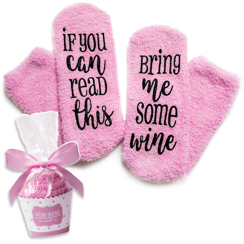 Luxury Wine Socks with Cupcake Gift Packaging: Mothers Day Gifts with If You Can Read This Socks Bring Me Some Wine Phrase - Funny Accessory for Her, Present for Wife, Gifts for Women Under 25 Dollars by cinch!