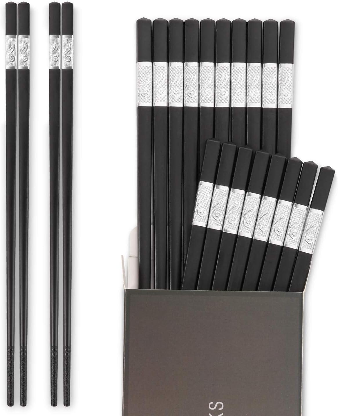 Hiware 10-Pairs Reusable Fiberglass Chopsticks Dishwasher Safe, 9 1/2 Inches - Silver
