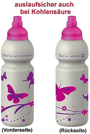 Fizzii - Bidón Mariposa, plástico Botella antigoteo en lavavajillas, sin Materiales nocivos, 600 ML,: Amazon.es: Deportes y aire libre