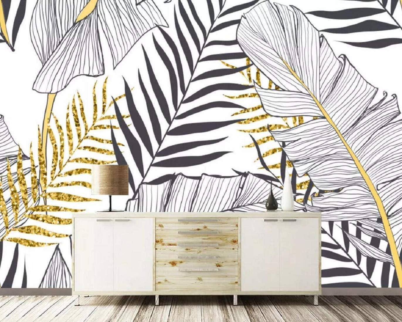 Noir Et Blanc /À Feuilles De Bananier Et Cocotiers Moderne Papier Peint Intiss/é D/écoration Murale Papier Peint 3D Le Mur Du Fond
