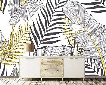 Papier Peint 3d Le Mur Du Fond Noir Et Blanc à Feuilles De