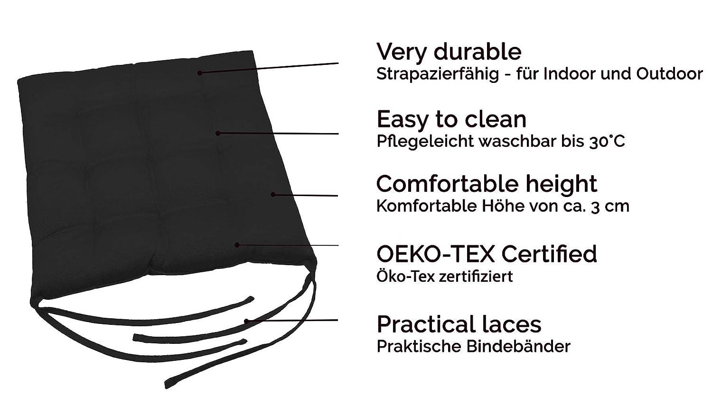 Zollner 4 cojines para silla, 40x40 cm, negro, en varios colores: Amazon.es: Jardín