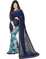 Lajree Designer Georgette Saree With Blouse Piece (Navy Blue_Free Size)