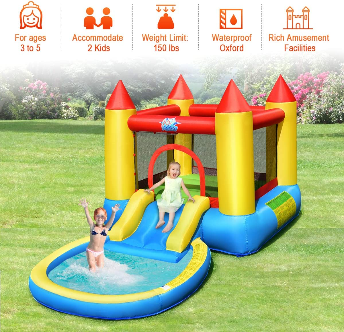 Outdoor Party Water Play Center Kids Castle Jumping Bouncer w// Water Slide /& Splash Pool Repairing Kit HONEY JOY Inflatable Bounce House Stakes Without 580W Air Including Oxford Carry Bag