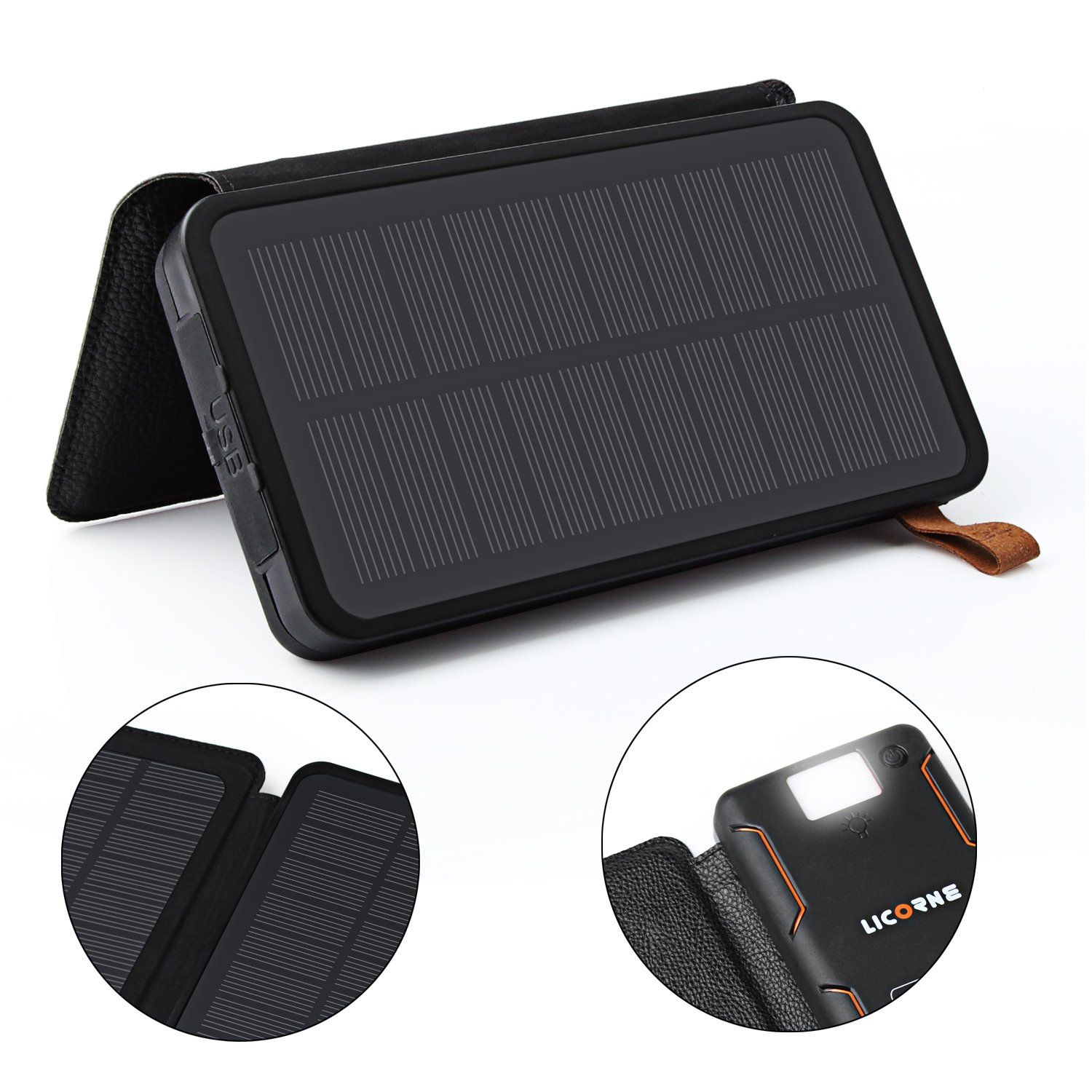 Solar Power Bank,24000mAh Solar Chargers High Capacity Solar Panel Cellphone Chargers Rain-resistant Dirt/Shockproof Backup with LED Flashlight Dual USB Port Solar Battery Charger for Most USB Devices