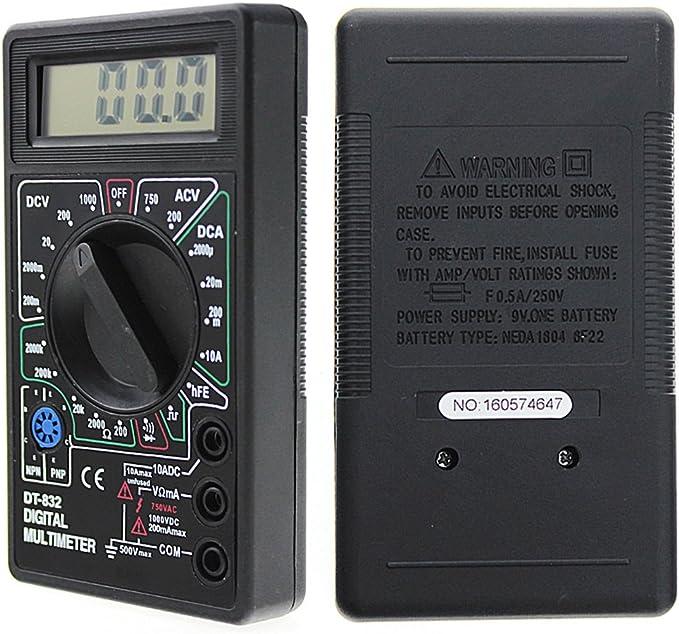 Voltmetro Multimetro digitale NCV CAT III con schermo LCD illuminato PeakTech 1075 Tester di continuit/à Amperometro elettronico 600 V Max Multimetro portatile Tester batteria