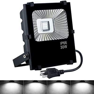 LED Flood Light, 30W Security Lights with US 3-Plug, IP66 Waterproof Outdoor Floodlight, 3000lm 6000K Daylight White Garden Light for Yard, Garden, Playground, Basketball Court