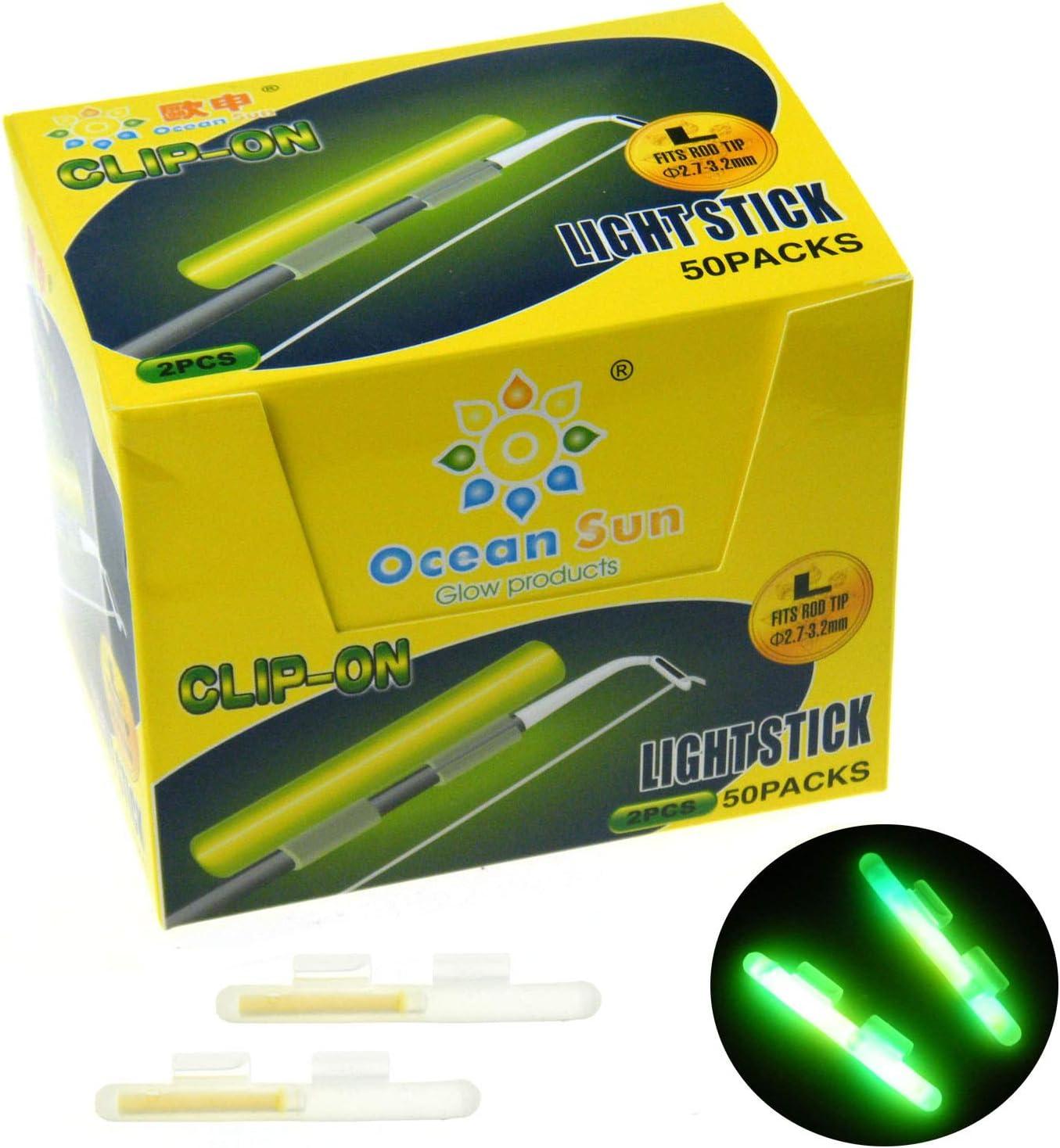 Con clip. Varilla de luz fluorescente para pesca (100 unidades, M L XL)