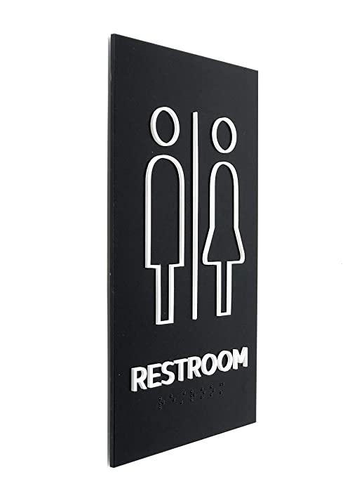 Kubik Letters Unisex Restroom Sign, ADA Compliant Braille Tactile Sign,  Modern Door Sign for All Gender Restroom with 3M Double Sided Tape