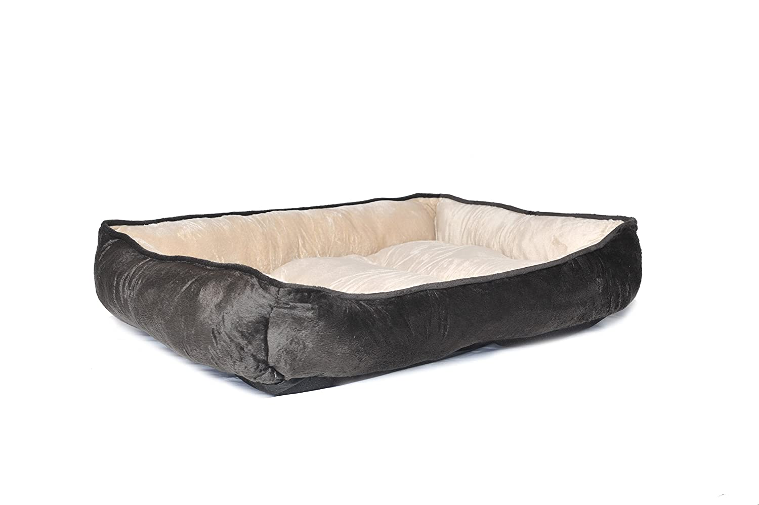 HappyCare Textiles HCT REC-002 Classic Solid Rectangle Dog and Pet Bed, Large, Brown