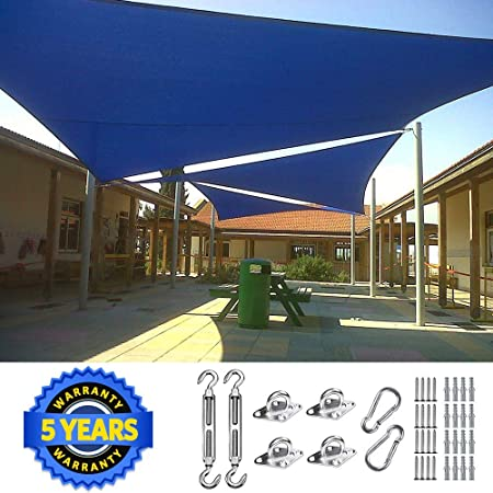 Quictent 26 X 20 ft 185G HDPE Rectangle Sun Shade Sail Canopy 98 UV Block Outdoor Patio Garden with Free Hardware Kit Blue