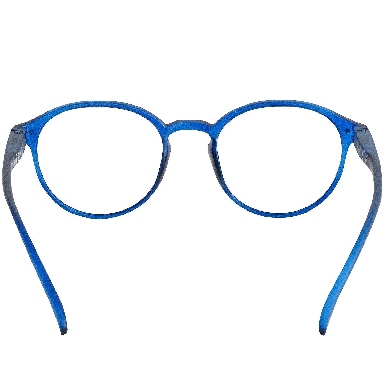 Blu Custodia INCLUSA Montatura in Plastica stile Classico da Nerd Occhiali da Lettura con Grandi Lenti Tonde Occhiali Vintage Donna e Uomo Diottrie +1.0