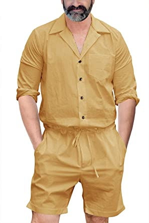 8027196bcb9c Runcati Mens Romper Jumpsuit One Piece Long Sleeve Drawstring Shorts Casual  Playsuit Plain Coverall with Pockets