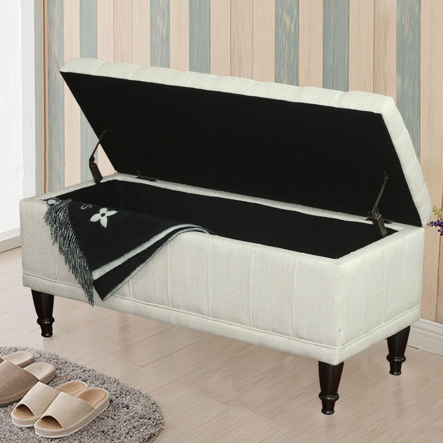 Amazon Adeco Fabric Sturdy Design Rectangular Tufted Lift Top