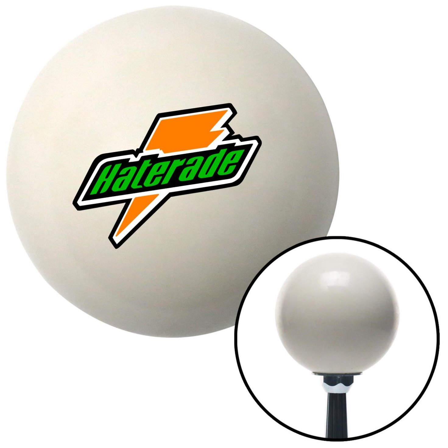American Shifter 42251 Ivory Shift Knob with 16mm x 1.5 Insert Haterade Logo