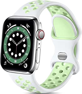 Lerobo Compatible with Apple Watch Band 44mm 42mm iWatch Bands 40mm 38mm Women Men, Soft Silicone Sport Breathable Replacement Strap Compatible for Apple Watch SE Series 6 5 4 3 2 1, White/Green, S/M