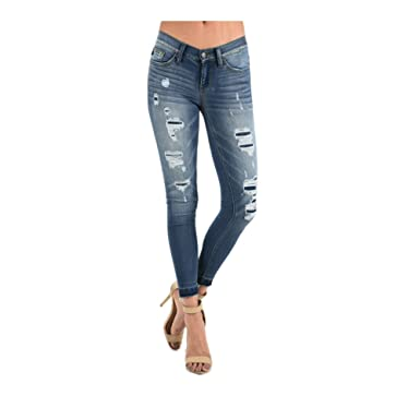 884461e8bab Judy Blue Ladies Destructed Patch Skinny Jean with Fraying (Regular   Plus  Sizes) (