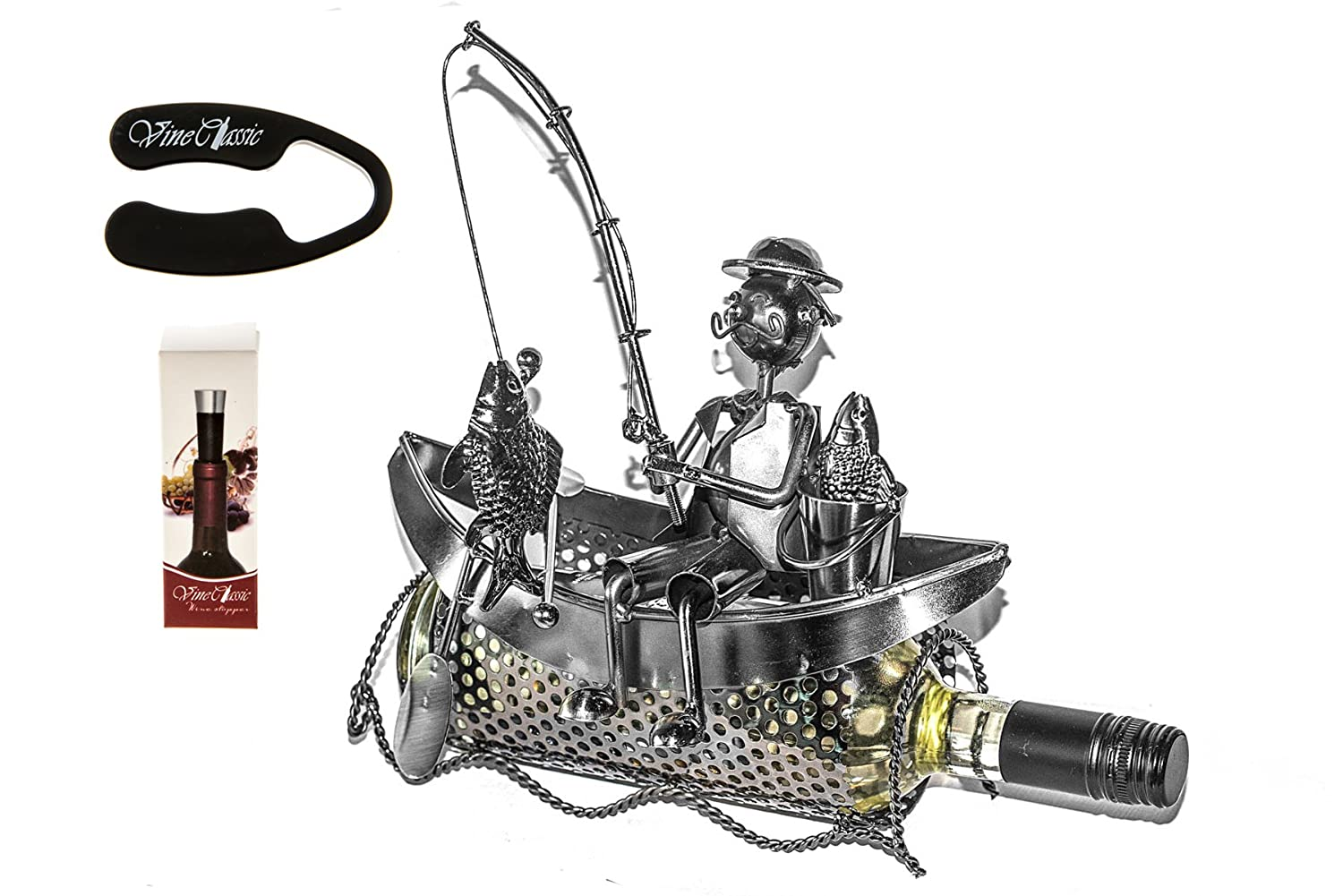 Fabulous Fisherman Sitting on Boat with a Fishing Rod Trying to Catch Some Fish , Wine Bottle Holder Presenter Plus a Wine Foil Cutter and a Wine Vacuum Stopper Upscale Innovations 5737