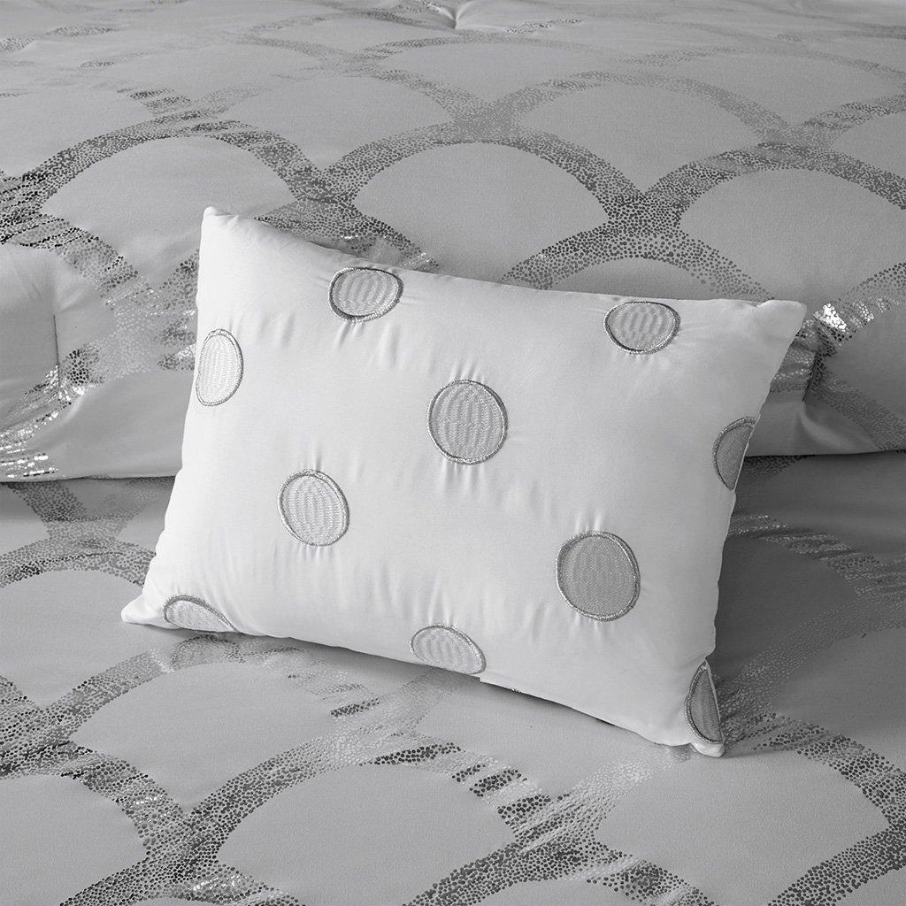 Intelligent Design Lorna Metallic Print Mermid Scale Scallop Polka Dots Ultrasoft Microfiber Comforter and Sheet Set Bag Bedding Queen Size Blush 8 Piece