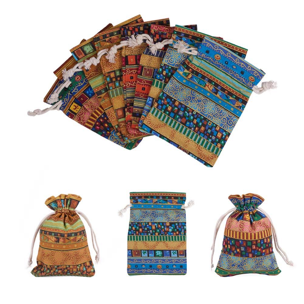 Emballage Linge de Stockage Bijoux Pochettes Sacs pour F/ête de Mariage Anniversaire No/ël Bricolage Artisanat nbeads 20 PCS Pochettes demballage en Coton et Lin Color/és avec Cordons