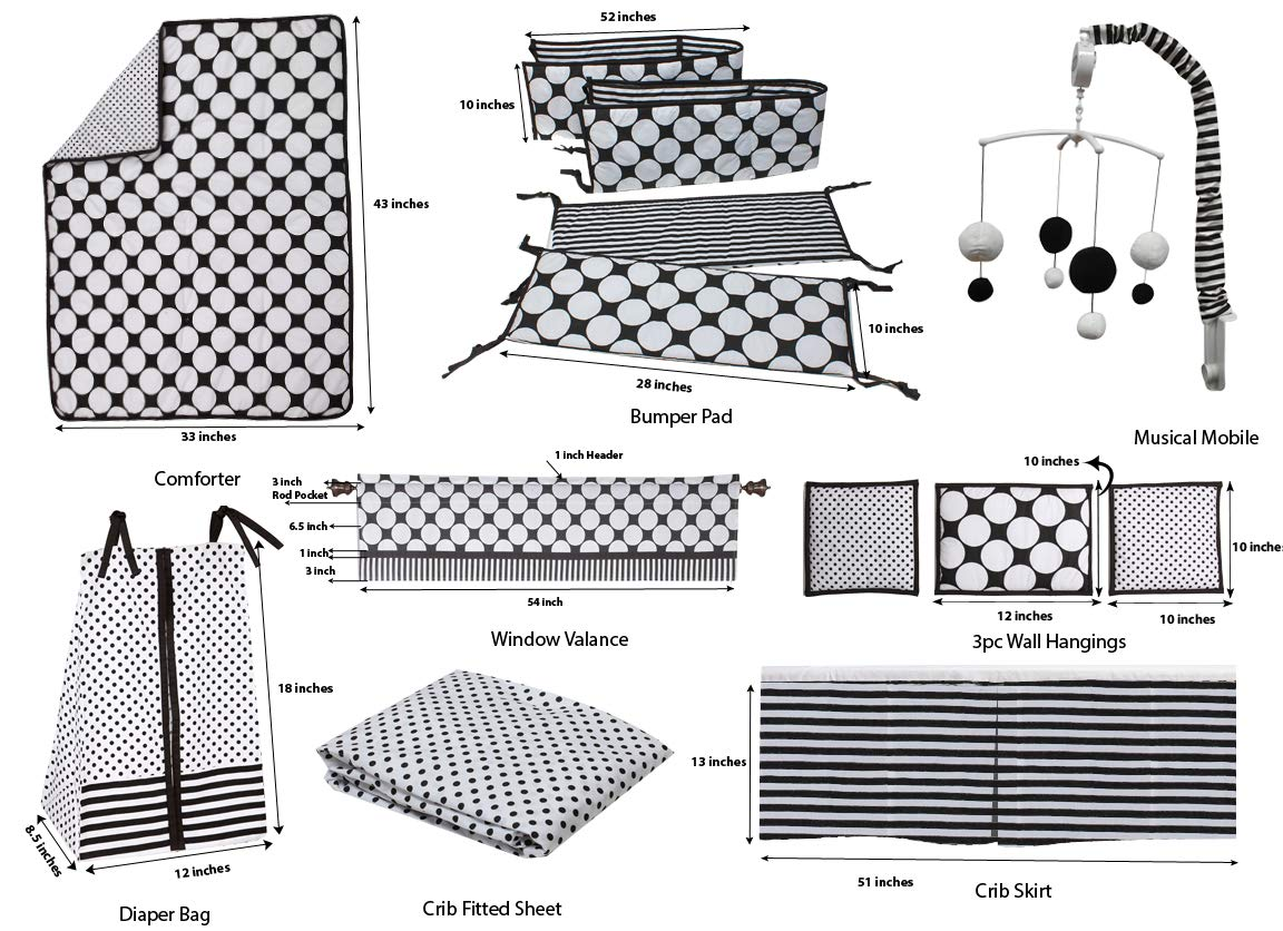 Bacati Dots//pin Stripes Black//White 10 Pc Crib Set with 2 Crib Sheets Bumper Pad not Included