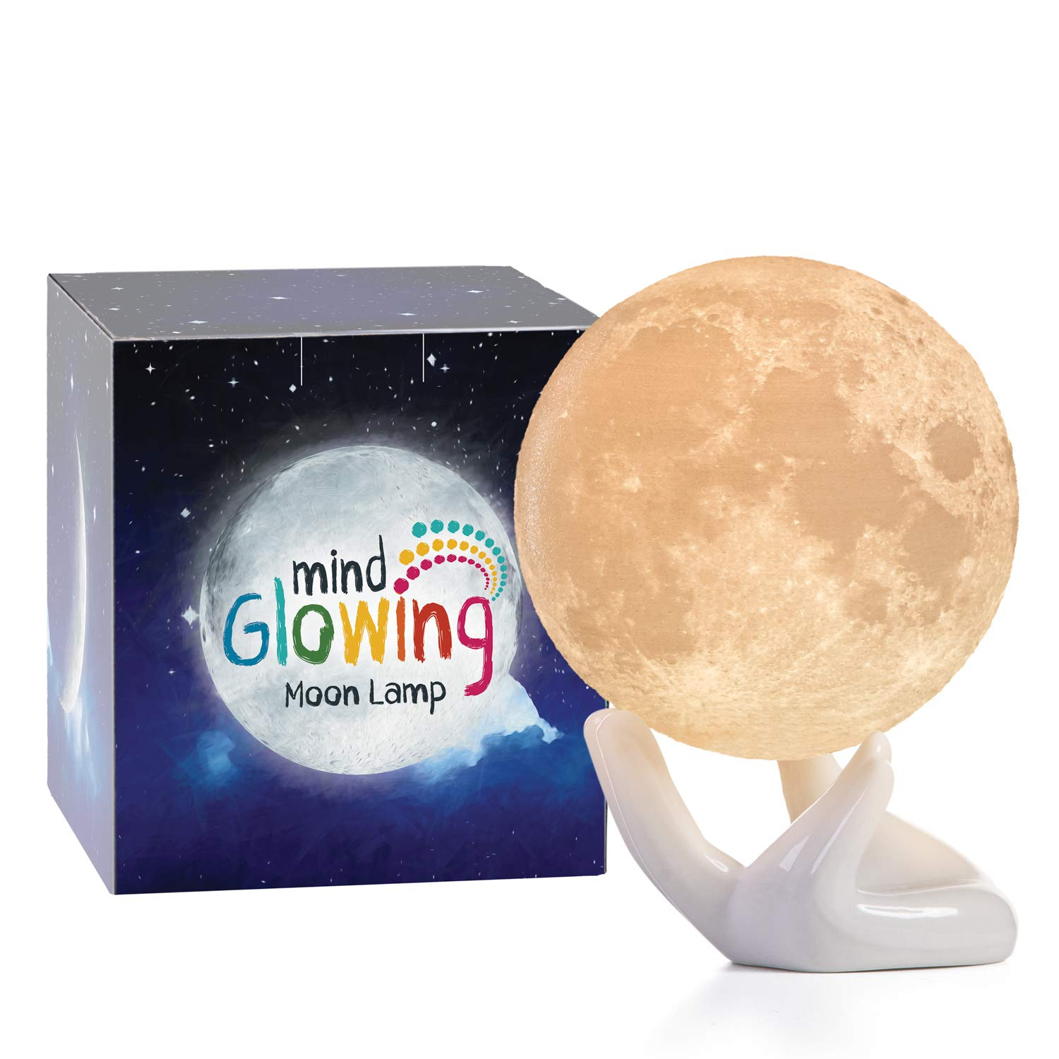 Mind-glowing 3D Moon Lamp - Warm and Lunar White Night Light (Mini, 3.5in) with Ceramic Hand Stand - Nursery Decor for Your Baby, Birthday Gift Idea for Women