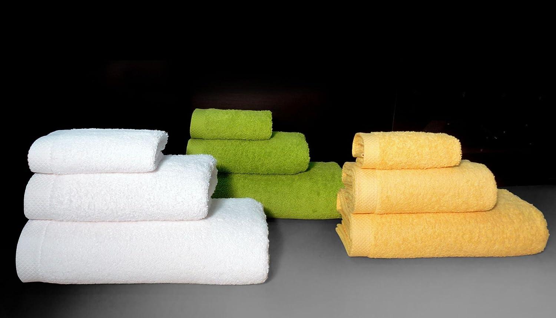 Lasa Pure - Juego de 3 Toallas para tocador, 33 x 50 cm, Lavabo, 50 x 100 cm y Ducha, 70 x 140 cm, Color azafrán