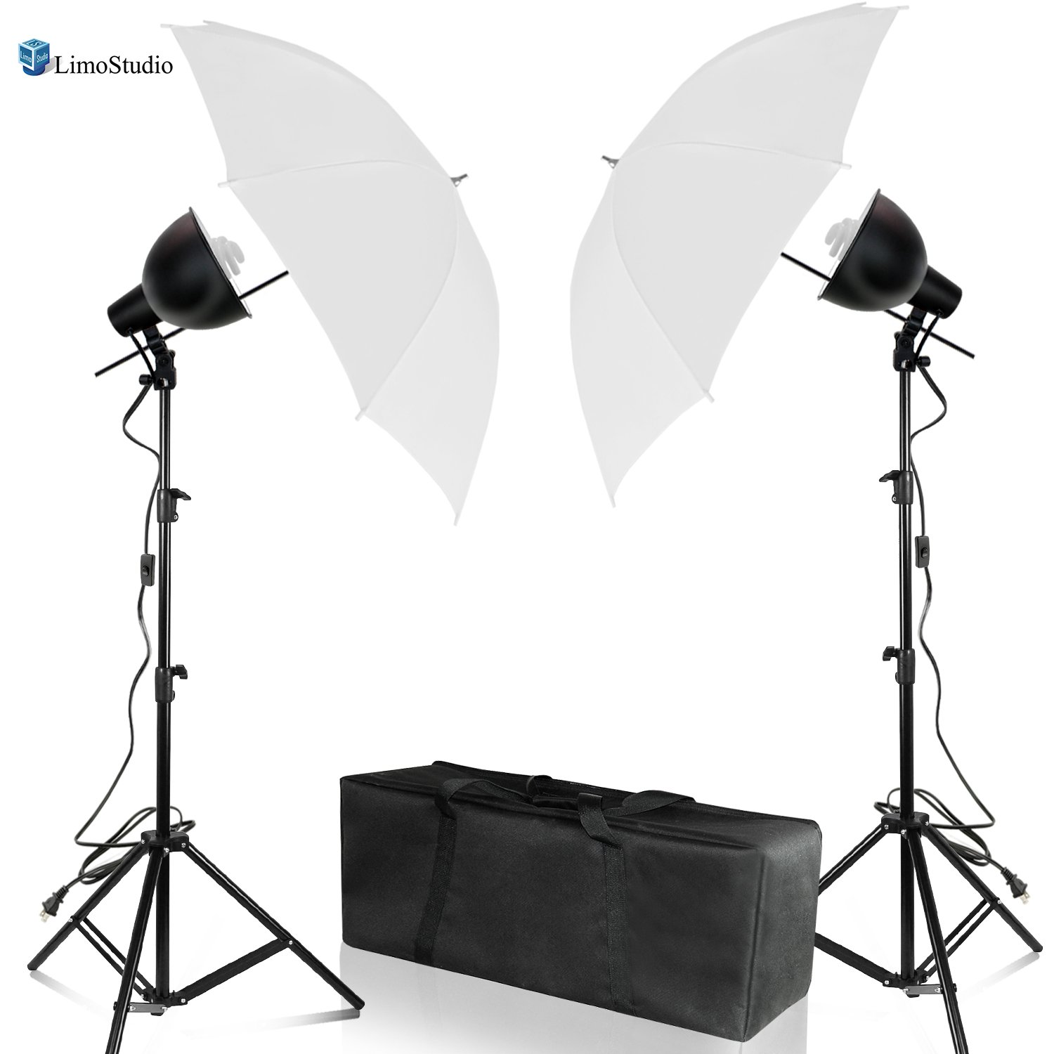 Limostudio Day Light Continuous Lighting Kit/ 7.5'' Reflector Dish with 45 W Light, Light Stand Tripod, 33''White Umbrella and Carry Bag, AGG2572