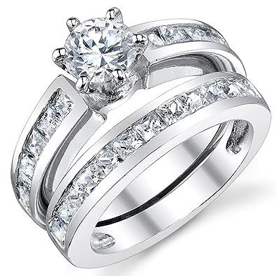 Ultimate Metals® Anillo de Matrimonio - Compromiso en Plata Esterlina, Conjunto de 2 Anillos Con Circonio Cúbico, Centro 0.75 Quilates