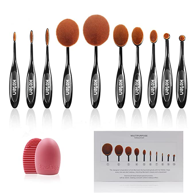 Keten brochas de maquillaje oval 10 uds Brochas forma de cepillo para base de maquillaje, corrector, polvos, set de pinceles de maquillaje: Amazon.es: ...