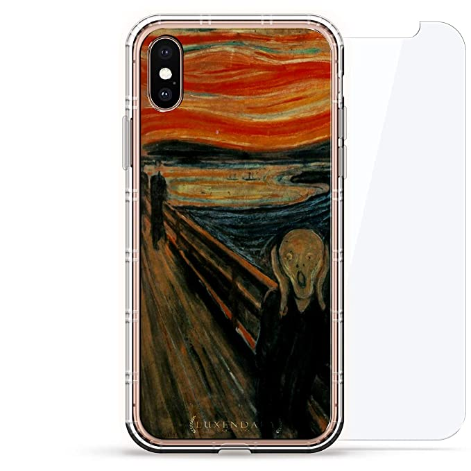 Art The Scream Public Domain Picture Luxendary Air Series 360 Bundle Clear Silicone Case With 3d Printed Design And Air Pocket Cushion Bumper