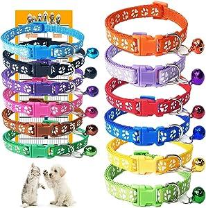 GAMUDA Puppy Collars - Super Soft Nylon Whelping Puppy Collars - Adjustable Litter Collars for Pups - Assorted Colors Reflective Plain & Identification Collars - Set of 12