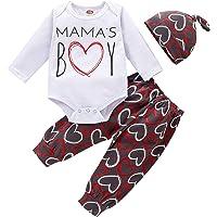 BOWINR Newborn Baby Boy Clothes Infant Outfits Letter Heart Print Clothing Hat Pants Set 3PCS