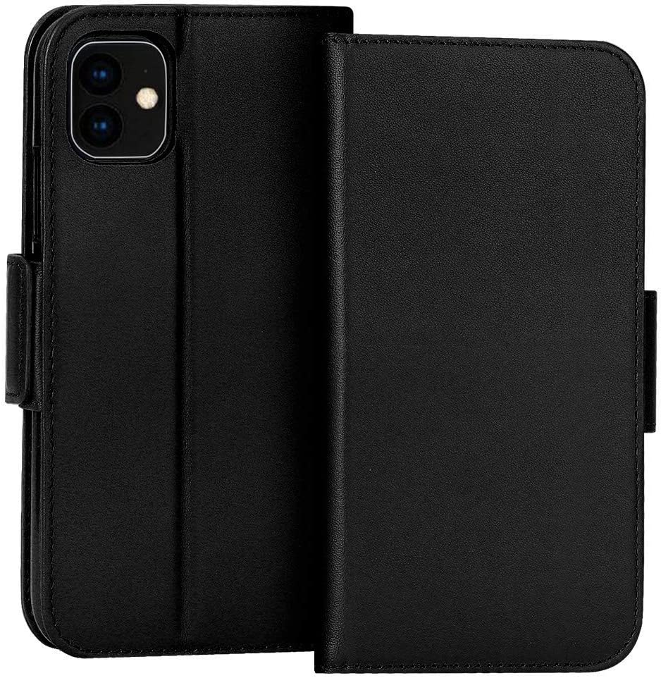 """FYY Case for iPhone 11 6.1"""", Luxury [Cowhide Genuine Leather][RFID Blocking] Wallet Case, Handmade Flip Folio Case Cover with [Kickstand Function] and[Card Slots] for Apple iPhone 11 6.1"""" Black"""
