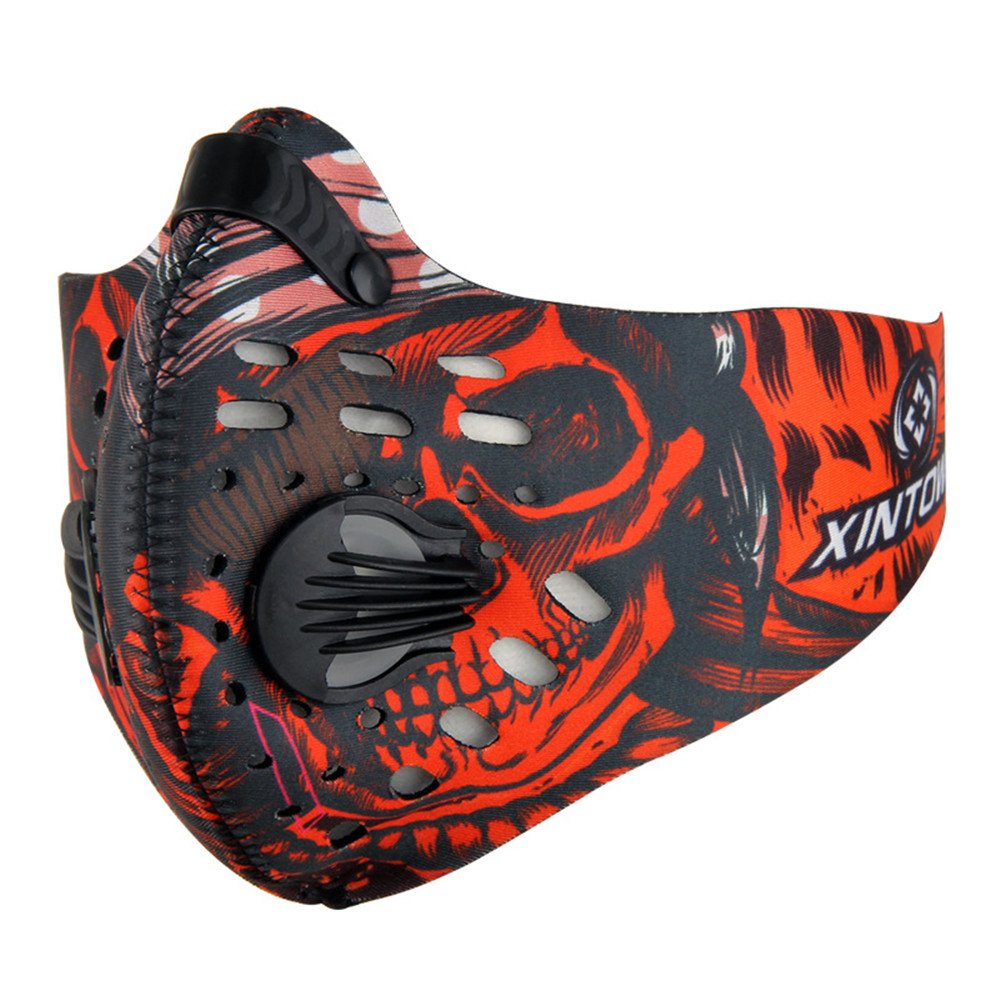 TOPSHION Dust Proof Riding Mask with Filtered Activated Carbon Filtration Exhaust Gas for Outdoor Sports Anti Pollen Allergy PM2.7 Half Face Mask
