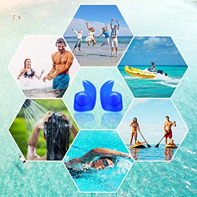 Surfing,and Other Water Sports Shower SGODDE Swimming Earplugs,2 Pairs Waterproof Reusable Silicone Ear Plugs for Swimming
