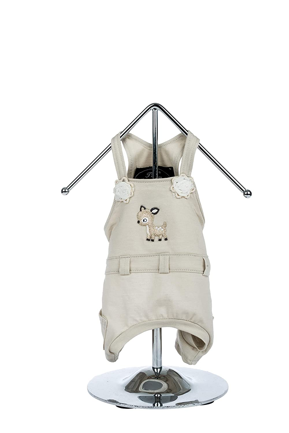 Trilly tutti Brilli 15-BIANCOS.BEIXS Biancospino Dungarees with Thermal Application Cerbiat and Flowers, XS, Beige