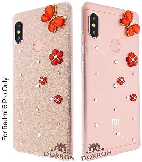 size 40 0ebcf 39d67 DORRON Stylish Butterfly Girls Back Cover Case for Mi Xiaomi Redmi 6  PRO/Xiaomi Mi A2 Lite (Champagne Gold)