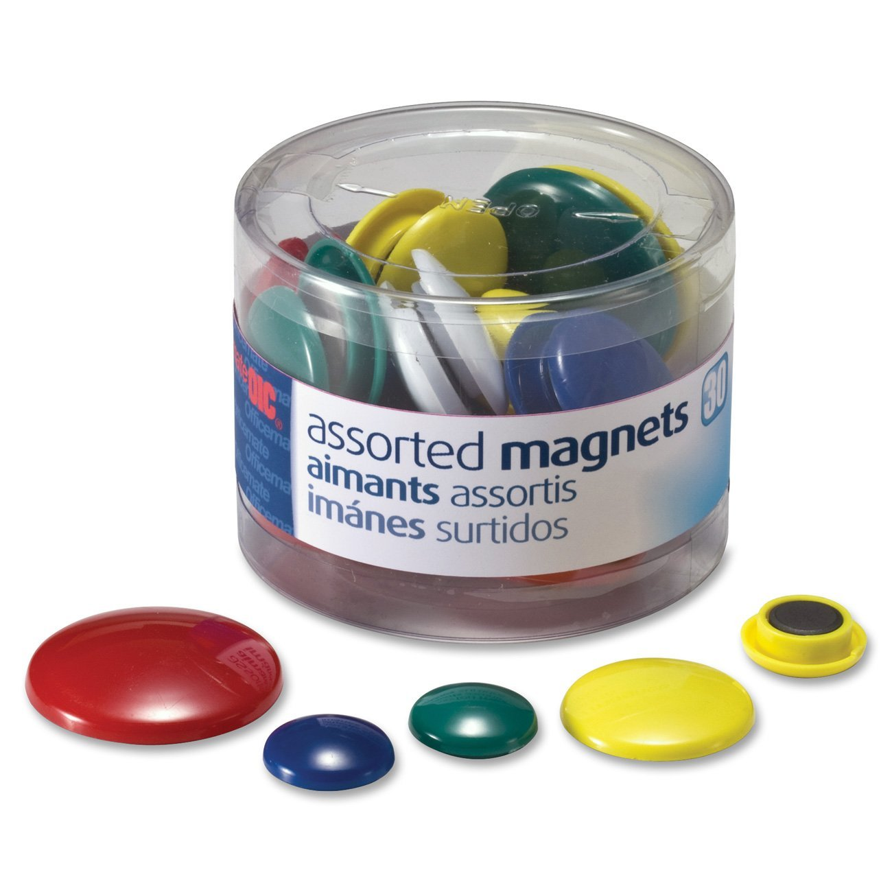 Magnets, Assorted Sizes and Colors, 30 per Tub (92500), Pack of 12 by Officemate