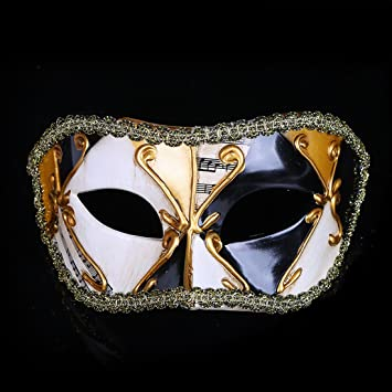 Máscara de máscara de máscara de máscaras venecianas para fiestas, misteriosas notas musicales para Navidad