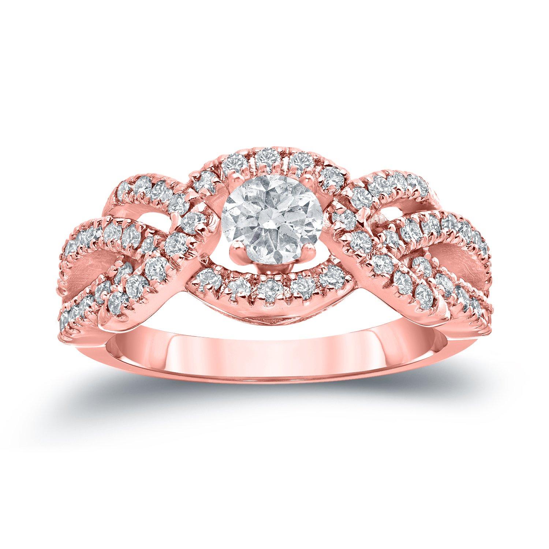 14k Gold 3/8ct TCW Infinity Halo Diamond Engagement Ring (H-I, I1-I2 ...