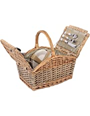 Cestino da picnic per 4persone, cestino di vimini con pratico contenuto, Coltello, piatti porcellana, bicchieri, cestino di vimini