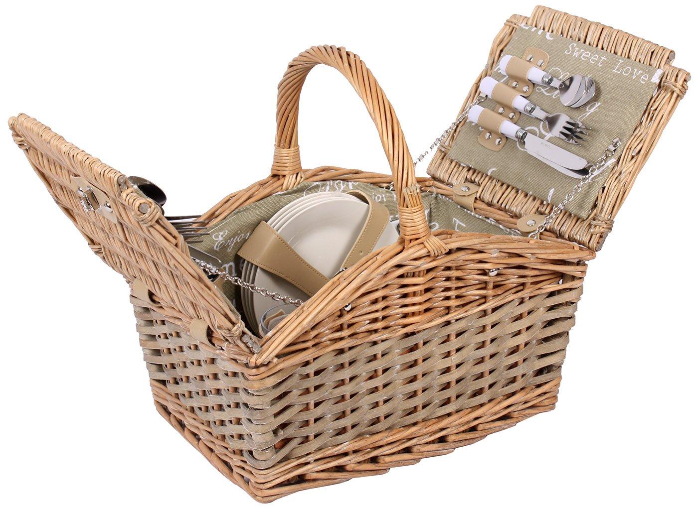Famiglie cestino da Picnic per 4persone da picnic box borsa pic-nic, Set completo Sell-tex St-PK-072