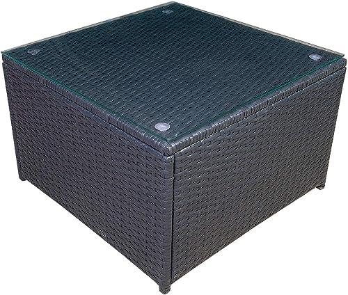 Mcombo Outdoor Patio Rattan Wicker Sofa Black Coffee Table Garden Sectional Set with Desk 6085-1005TT