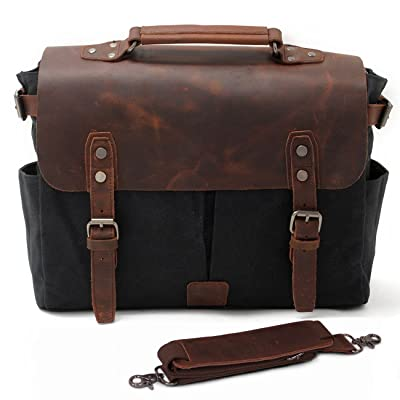 "SUVOM Mens Canvas Messenger Bag 14"" Leather Laptop Bag Briefcase School Bookbag (Black)"