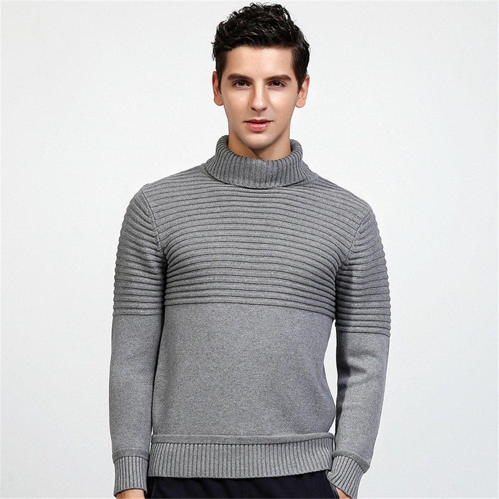 Jdfosvm männer - Pullover für männer Mode Jungen englischen Polo Hals Pullover Pullover,Grau,XL